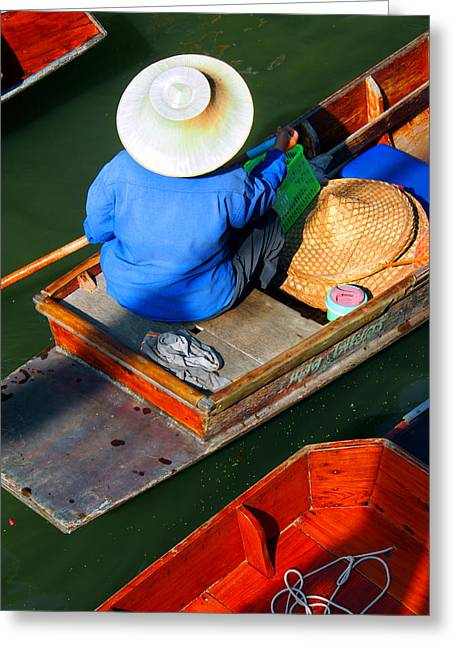 Justin Woodhouse Greeting Cards - A Day at Work on a Thai Canal Greeting Card by Justin Woodhouse