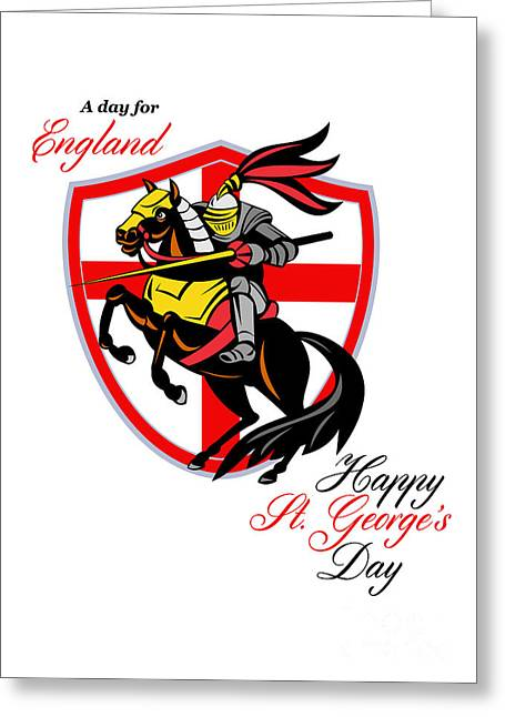 Brandishing Greeting Cards - A Day For England Happy St George Day Retro Poster Greeting Card by Aloysius Patrimonio