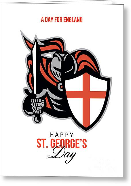 Brandishing Greeting Cards - A Day for England Happy St George Greeting Card Greeting Card by Aloysius Patrimonio