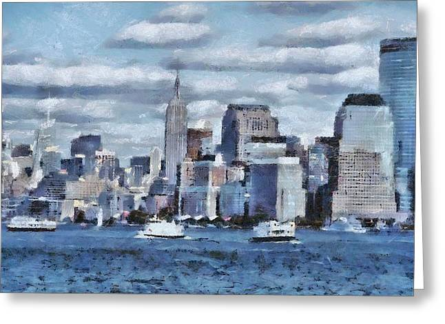 Freedom Park Paintings Greeting Cards - A Day In The Big City Greeting Card by Dan Sproul