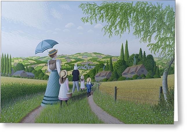 Edwardian Greeting Cards - A Day In The Country, 1996 Greeting Card by Peter Szumowski