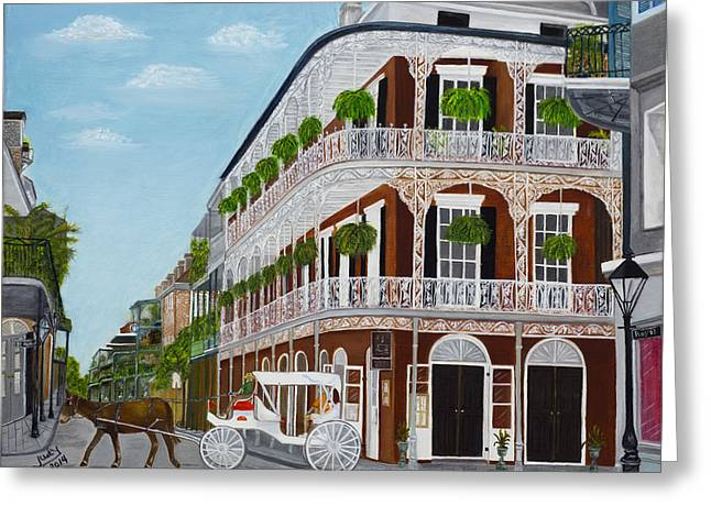 A Carriage Ride In The French Quarter Greeting Card by Judy Jones