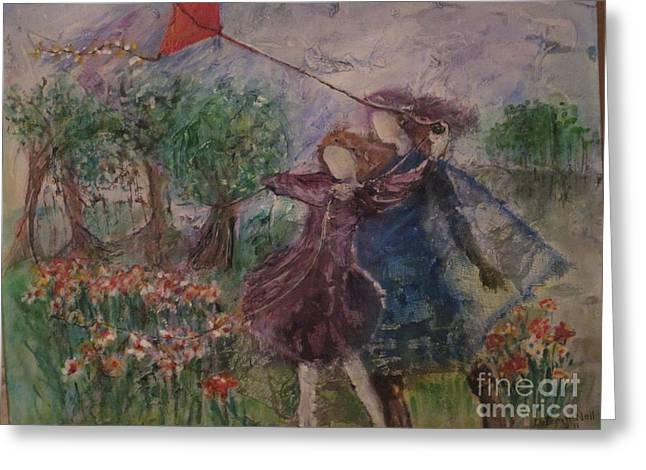 Kites Mixed Media Greeting Cards - A Day In The Park Greeting Card by Deborah Nell