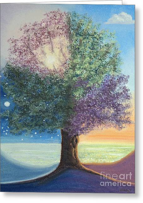 Serene Pastels Greeting Cards - A Day in the Tree of Life Greeting Card by Stanza Widen