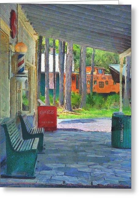 Caboose Paintings Greeting Cards - A Day in the Village  Greeting Card by L Wright