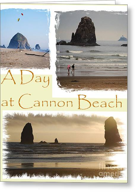 Kite Greeting Cards - A Day on Cannon Beach Greeting Card by Sharon Elliott