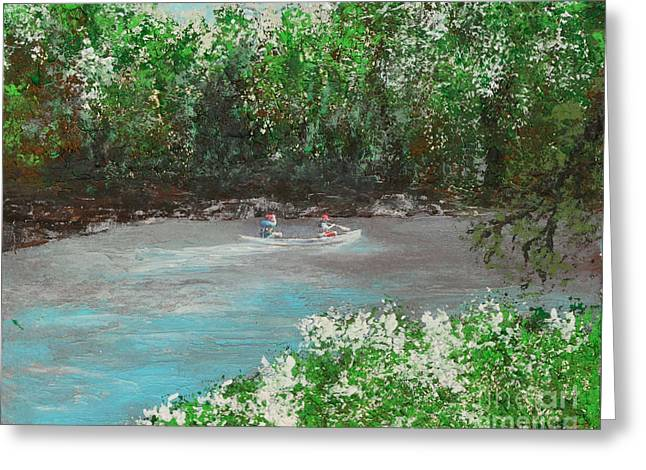 Indiana Rivers Paintings Greeting Cards - A Day On The White River Greeting Card by Alys Caviness-Gober