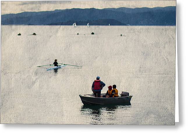 A day out rowing in Wellington Greeting Card by Constance Fein Harding