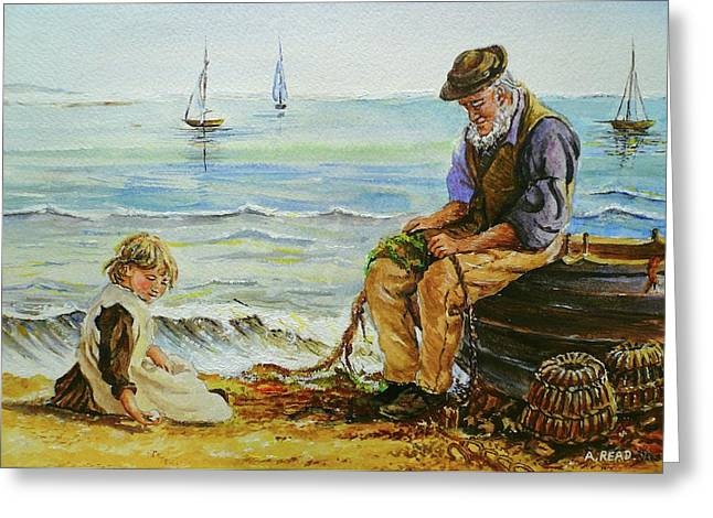 Andrew Read Greeting Cards - A Day With Grandad Greeting Card by Andrew Read