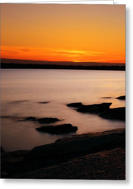 New England Ocean Greeting Cards - A Days End Greeting Card by Lourry Legarde