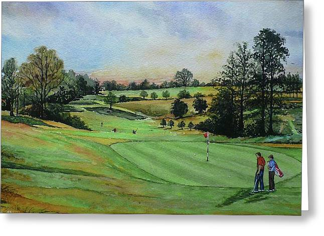 Playing Golf Greeting Cards - A DAYS GOLF Original painting sold Greeting Card by Andrew Read