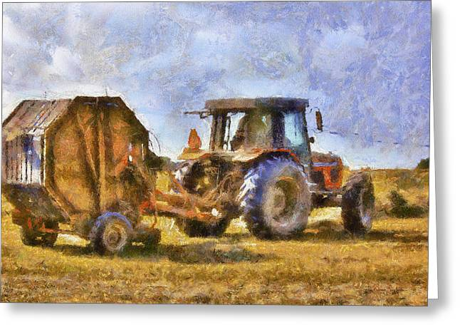 Bailing Hay Greeting Cards - A Days Work Greeting Card by Barry Jones