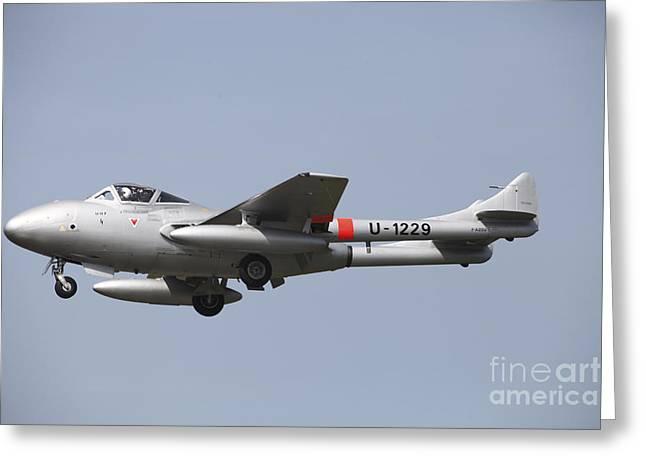 De Havilland Greeting Cards - A De Havilland Dh 112 Venom Jet Trainer Greeting Card by Timm Ziegenthaler