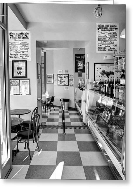 Deli Greeting Cards - A Delightful Deli BW Greeting Card by Mel Steinhauer