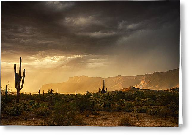 The Superstitions Greeting Cards - A Desert Monsoon Sunset  Greeting Card by Saija  Lehtonen