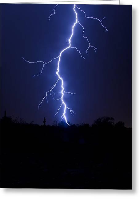 Arizona Lightning Greeting Cards - A Desert Storm  Greeting Card by Saija  Lehtonen