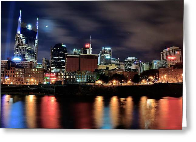 Nashville Downtown Greeting Cards - Nashville from Below Greeting Card by Frozen in Time Fine Art Photography