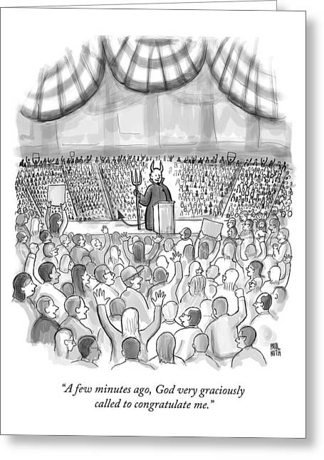 A Devil Speaking At A Massive Political Rally Greeting Card by Paul Noth