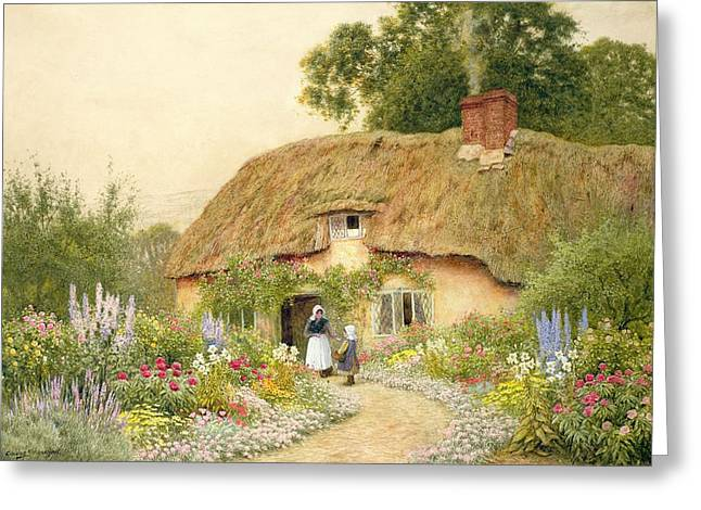 Thatch Greeting Cards - A Devon Cottage Greeting Card by Arthur Claude Strachan