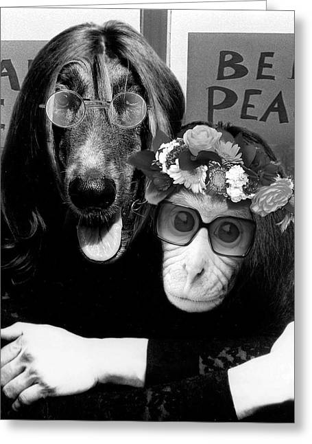 Lennon Mixed Media Greeting Cards - A Different John and Yoko Greeting Card by Marian Voicu