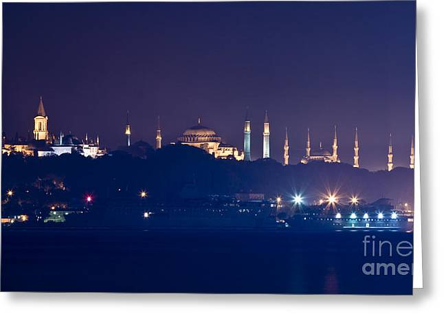 Hagia Sofia Greeting Cards - A Different Silhouette of Istanbul Greeting Card by Leyla Ismet