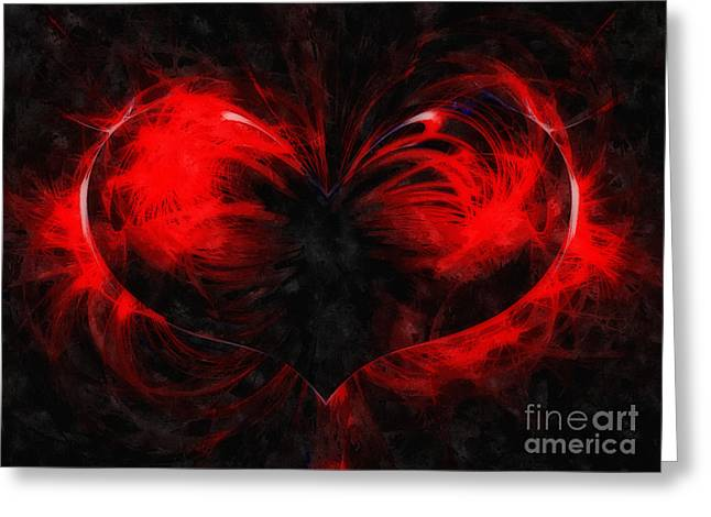 Oil Like Digital Greeting Cards - A Digital painting of abstract colouful heart Greeting Card by Ken Biggs