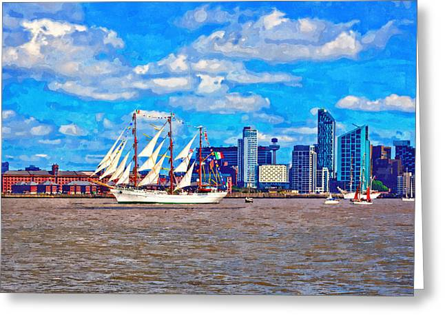 Tall Ships Mixed Media Greeting Cards - A digitally constructed painting of a tall ship on the River Mersey Greeting Card by Ken Biggs