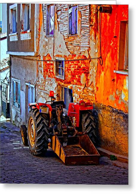 Industrial Background Mixed Media Greeting Cards - A digitally constructed painting of a tractor parked in a village street Greeting Card by Ken Biggs