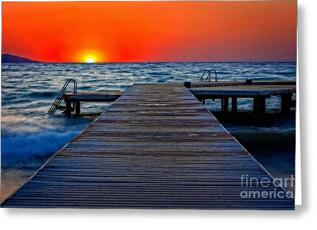 Wooden Platform Greeting Cards - A digitally converted painting of a wooden pier at sunset Greeting Card by Ken Biggs