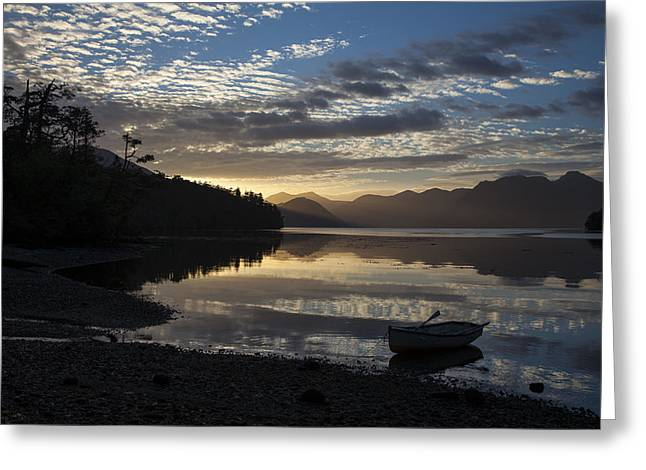 Row Boat Greeting Cards - A Dinghy at Sunrise Greeting Card by Tim Grams