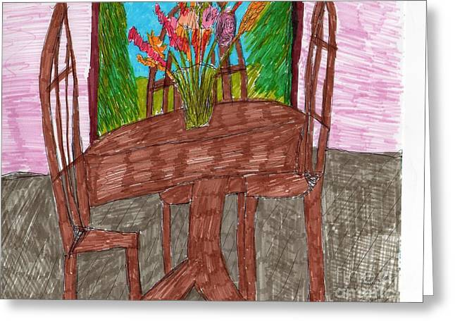 Table And Chairs Mixed Media Greeting Cards - A Dining Room Greeting Card by Elinor Rakowski