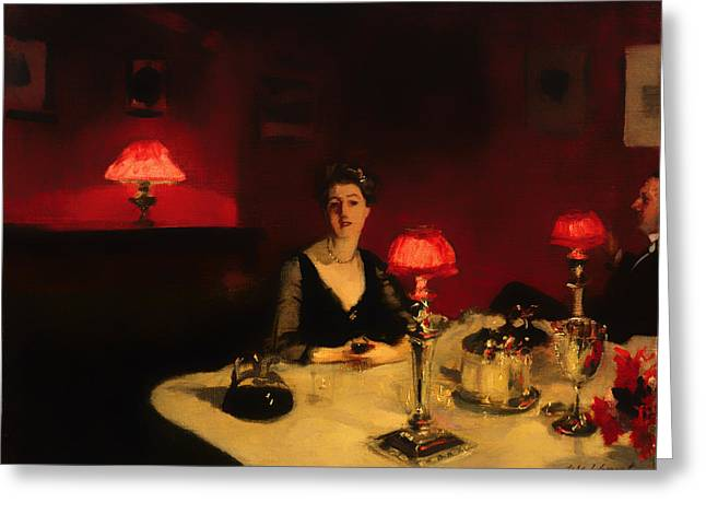 Night Out Paintings Greeting Cards - A Dinner Table at Night Greeting Card by John Sargent