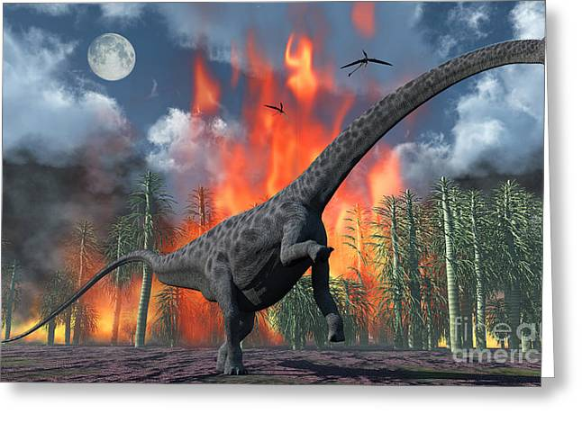 Fire In The Wood Greeting Cards - A Diplodocus Sauropod Dinosaur Fleeing Greeting Card by Mark Stevenson