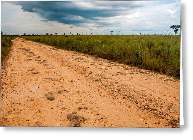 Gravel Road Greeting Cards - A Dirt Road in the Plains Greeting Card by Jess Kraft