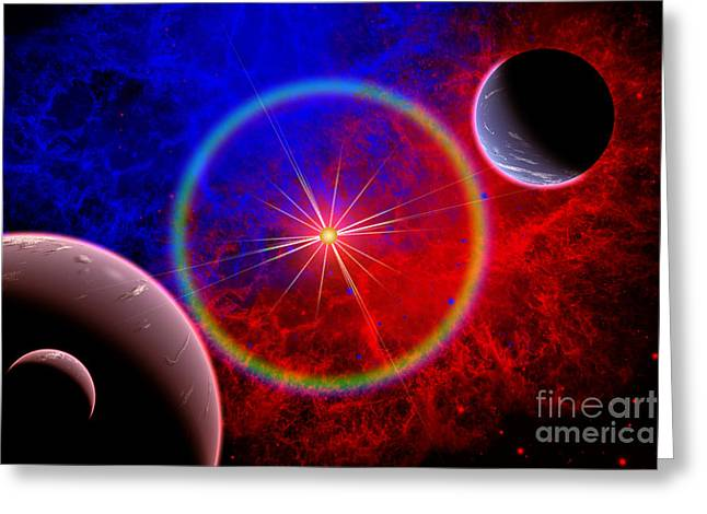 Twinkle Greeting Cards - A Distant Alien Star System Greeting Card by Mark Stevenson