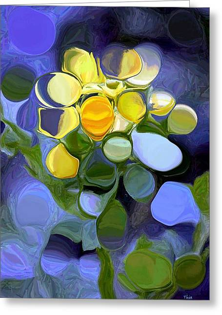 Distortion Tapestries - Textiles Greeting Cards - A Distorted Flower Greeting Card by Thia Stover
