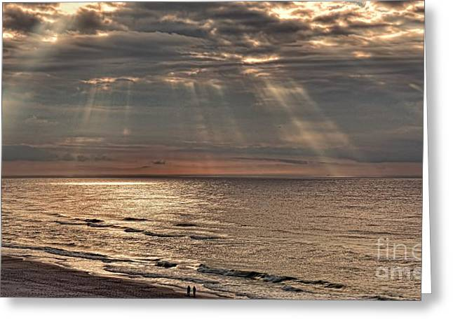 Hands To Face Greeting Cards - A Divine Sunrise Greeting Card by Henry Kowalski