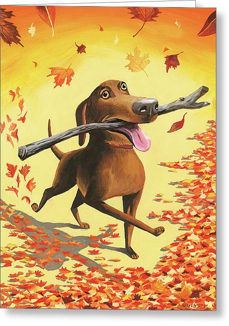 A Dog Carries A Stick Through Fall Leaves Greeting Card by Mark Ulriksen