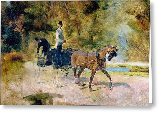 Driving Greeting Cards - A Dog-cart, 1880 Oil On Canvas Greeting Card by Henri de Toulouse-Lautrec