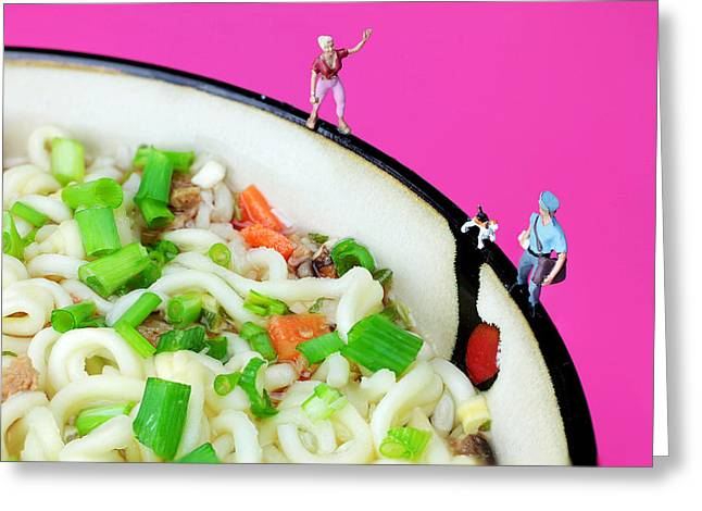 Noodles Greeting Cards - A dog chasing postman little people on food Greeting Card by Paul Ge