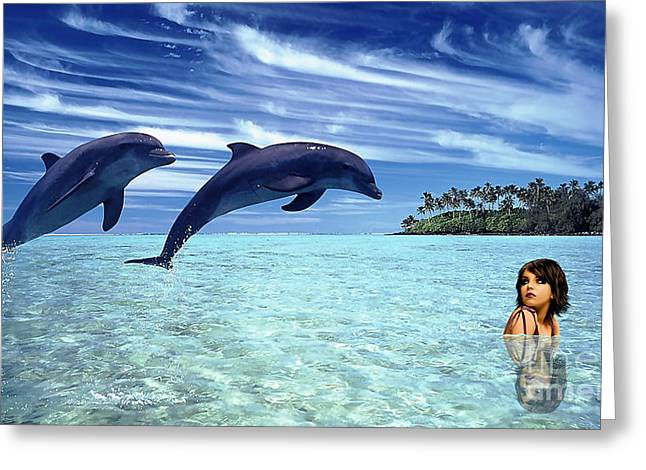 Ocean Mammals Mixed Media Greeting Cards - A Dolphins Tale Greeting Card by Marvin Blaine