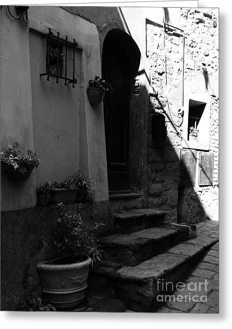Stone Steps Greeting Cards - A Door In Tuscany 2 BW Greeting Card by Mel Steinhauer