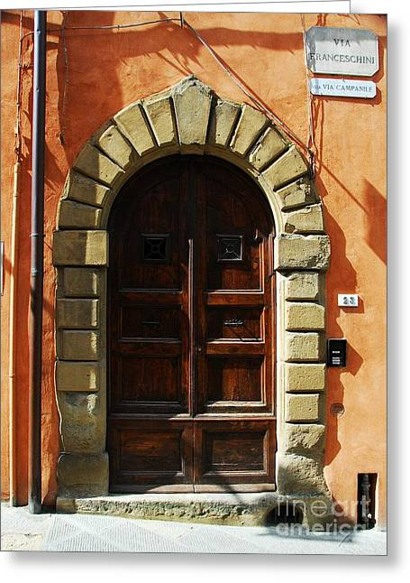 Scenes Of Italy Greeting Cards - A Door In Tuscany Greeting Card by Mel Steinhauer