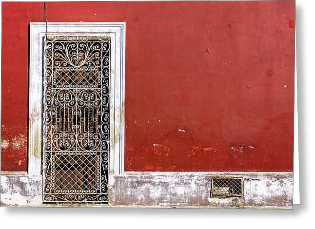 A Door To Remember - Red And Rustic Mexico Greeting Card by Mark Tisdale