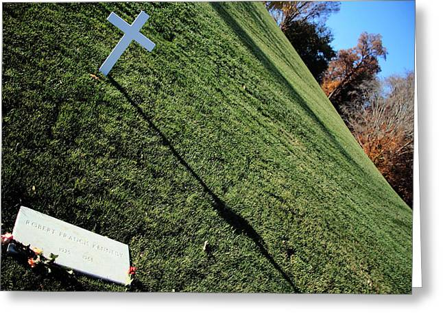 Bobby Kennedy Greeting Cards - A Dramatic Yet Respectful Angle -- The Grave Of Bobby Kennedy Greeting Card by Cora Wandel