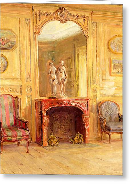 Fire Wood Greeting Cards - A Drawing Room Greeting Card by Walter Gay
