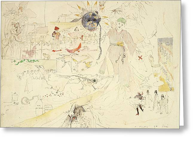 Dreams Drawings Greeting Cards - A Dream In Absinthe, 1890 Greeting Card by Charles Edward Conder