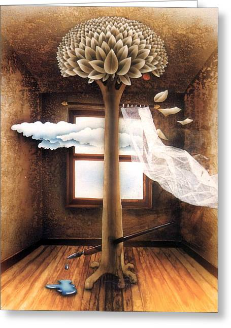 A Dream Of Words Greeting Card by Jose Luis Alcover