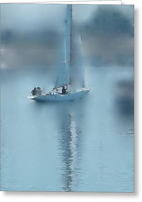 Sailboats In Water Greeting Cards - A Dreamy Sail Greeting Card by Ethel Rossi