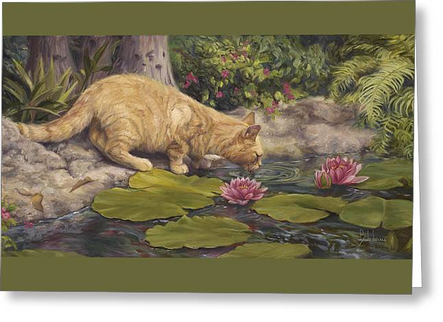 Orange Tabby Paintings Greeting Cards - A Drink At The Pond Greeting Card by Lucie Bilodeau